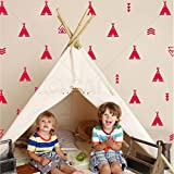 Set of 68 Tribal Decals Teepee arrow triangle kids room wall decal stickers wallpattern (Dahlia Red)