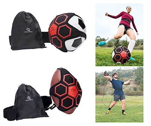 Pepper Jack Sports Football/Soccer/Throw Solo Trainer By Indoor & Outdoor Self Practice With Adjustable Waist Belt For Kids & Adults | Boost Control Skills & Accuracy | Includes Carry (Backyard Soccer Trainer)