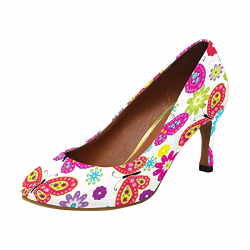 Heel Dress Classic Flower Butterfly InterestPrint amp; Womens High Pump Fashion qPaSXnIwCx