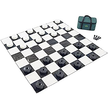 graphic about Printable Checkers Board titled : Back garden Game titles Huge Checkers Mounted with Large Mat