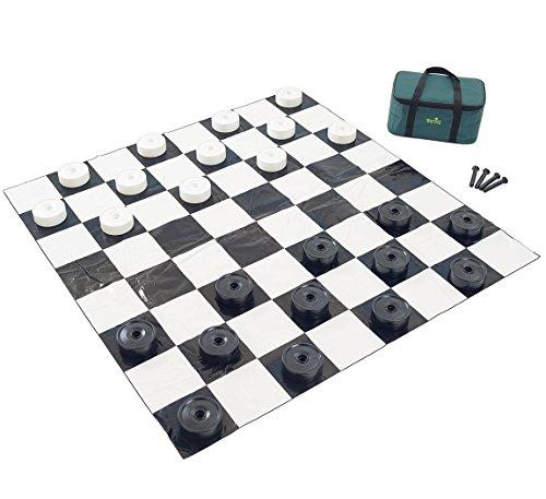 Jumbo Indoor/Outdoor Checkers Set | Garden Games - Jumbo Checkers Set with Large Board | 4 ft x 4 ft Mat