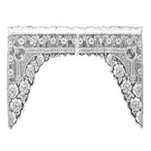 Heritage Lace Victorian Rose 72-Inch Wide by 38-Inch Drop Swag Pair, White