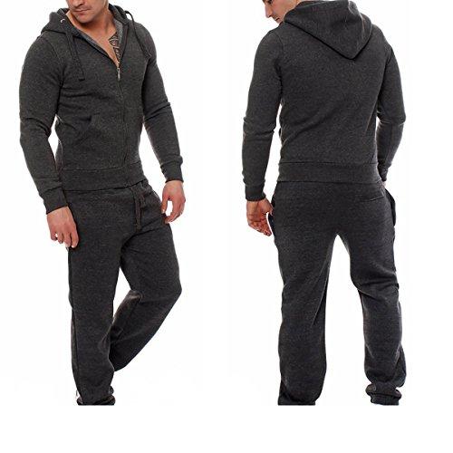 Figoo Men Fashion Jogging Full Tracksuit Pullover Hoodies Cotton Zipper Sweatsuit Set Top+Pants (Dark Gray, s)