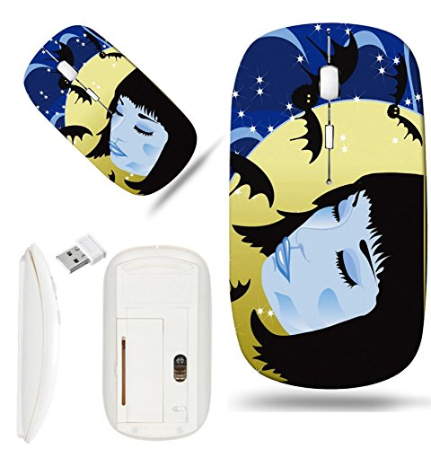 Luxlady Wireless Mouse White Base Travel 2.4G Wireless Mice with USB Receiver, 1000 DPI for notebook, pc, laptop, computer, mac design IMAGE ID 7823006 Halloween background with face of a girl
