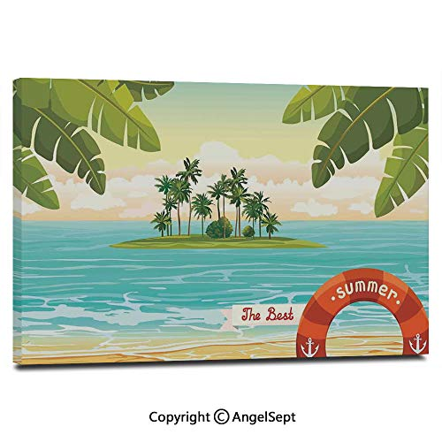 (Modern Salon Theme Mural Illustration of an Island with Coconut Palm in The Sea on Cloudy Summer Sky Painting Canvas Wall Art for Home Decor 24x36inches, Cream Green Turquoise)
