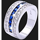 Sumanee blue glazed White Gold Filled Ring 4Size Women Double Engagement Rings Jewelry (8)