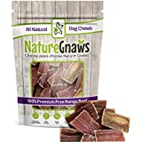 """Nature Gnaws Beef Jerky Bites 3-4"""" (20 Pack) - 100% All-Natural Grass-Fed Free-Range Premium Beef Dog Chews"""