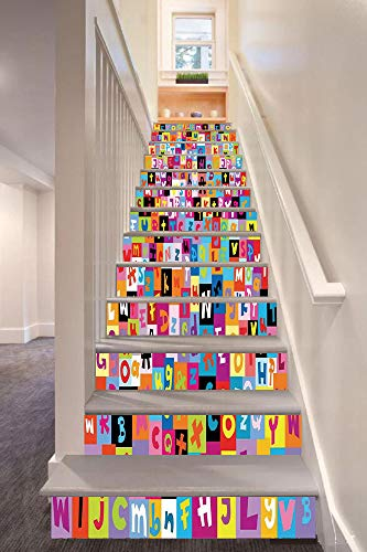 (anselc05ls Abstract 3D Stair Riser Stickers Removable Wall Murals Stickers,Colored Alphabet Letters Pattern Education School Puzzle Children Graphic Print,for Home Decor 39.3