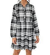 ROYLAMP Women's Casual Long Sleeve Dress Plaid Pleated Hem Button Down Collared Tunic Dress with ...