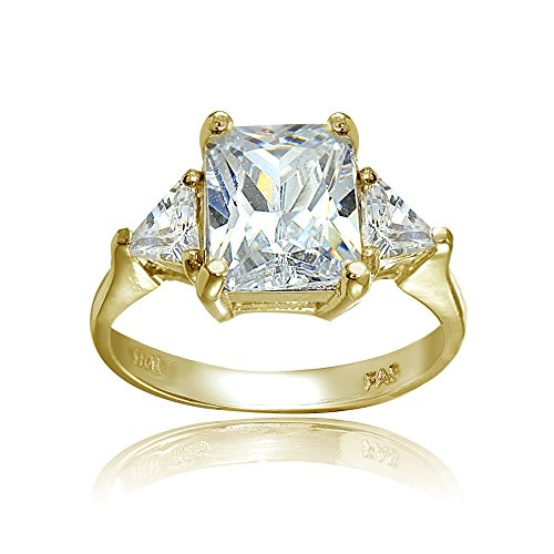 Silver Trillion Ring (Yellow Gold Flashed Sterling Silver CZ Trillion & Emerald Cut Engagement Ring, 9)