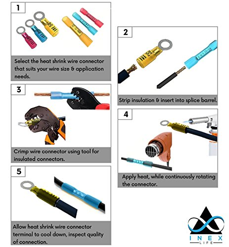 435 PCS Heat Shrink Wire Connector | Electrical Terminals, Copper Wire Kit | Insulated & Waterproof - Marine & Automotive Grade | Crimp Connector Assortment - Ring, Fork, Hook, Spade Butt Splices by INEX Life (Image #7)