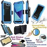 for 5.5'' Samsung J7 2017 SKY PRO Perx HALO J7 V Case Phone Case 360° Cover Screen Protector Back Window Holster Kick stand Armor Shock Bumper (Blue)