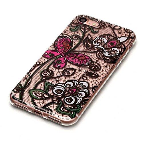 Crisant Case Cover For Apple iPhone 7 4.7'' (4,7''),fleur noir Premium gel TPU souple Très mince Transparent Clair Bumper silicone protection Housse arrière coque étui Pour Apple iPhone 7 4.7'' (4,7''