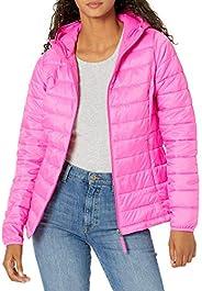 Amazon Essentials Women's Lightweight Long-Sleeve Full-Zip Water-Resistant Packable Hooded Puffer Ja