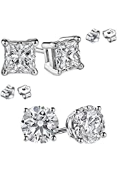 STERLING SILVER Round and Princess Combo Cubic Zirconia Stud Earrings 3.00 Carat Total Each Pair