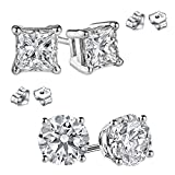 Round and Princess Combo 925 Sterling Silver Cubic Zirconia Stud Earrings 3.00 Carat Total Weight Each Pair