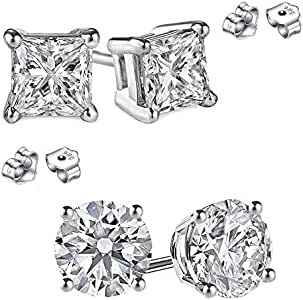 FANTOM JEWELRY Round and Princess Combo 925 Sterling Silver Cubic Zirconia Stud Earrings 3.00 Carat Total Weight Each Pair