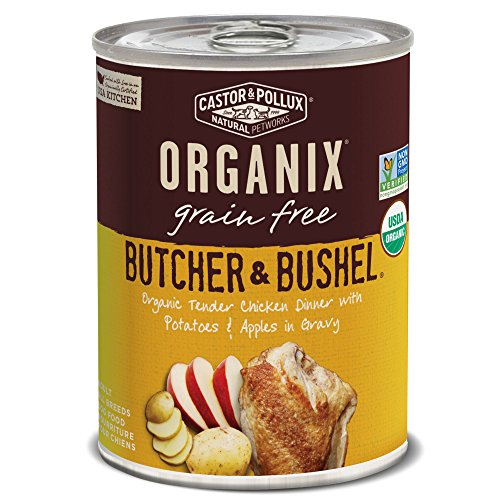 Castor & Pollux Organix Butcher & Bushel Organic Tender Chicken Dinner with Potatoes & Apples Wet Dog Food, 12.7 oz., Case of 12 Cans