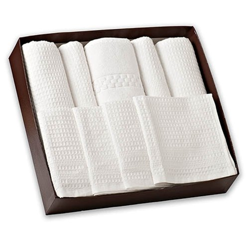 Waffle Weave Bath Towel Set with Bath Mat - Classic Style (White) by Gilden Tree