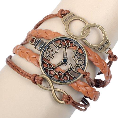 Retro Timeless Clock- Freedom- Leather Wrap Bracelet / Bangle - Believe/ Infinity