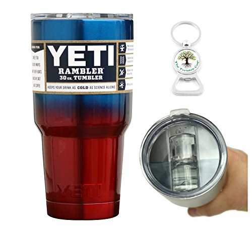 Yeti Coolers 30 Ounce (30oz) (30 oz) Custom Rambler Tumbler Cup Mug with Exclusive Spill Resistant Lid (Blue Red Ombre)