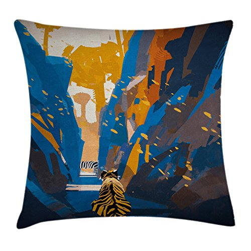 Ambesonne Fantasy Art House Decor Throw Pillow Cushion Cover, African Tiger in City Streets Narrow Walls Digital Jungle Savannah, Decorative Square Accent Pillow Case, 16 X 16 Inches, Orange Blue