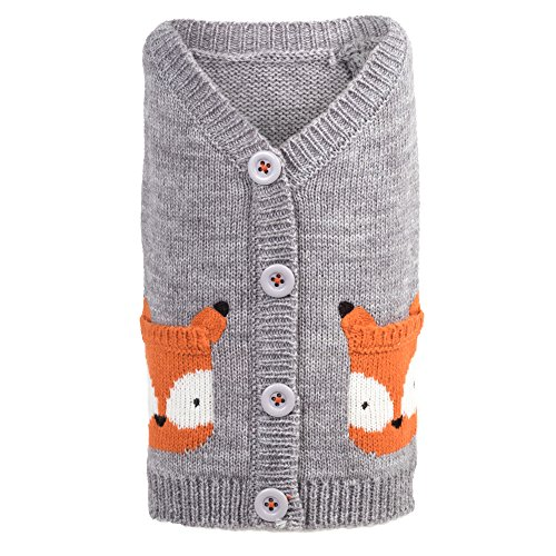 The Worthy Dog Fox Cardigan for Dogs, Small, Gray Fox Cardigan Sweater