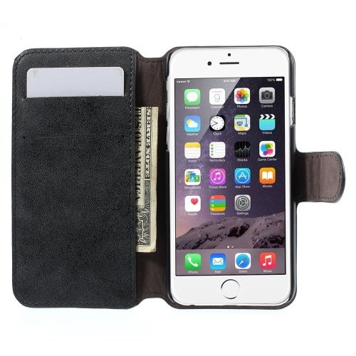 "Apple iPhone 6 4.7"" Wallet Case Retro Style Antik Frosted Book Etui Hülle Schwarz"