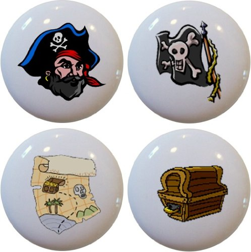 (Set of 4 Pirate Ceramic Cabinet Drawer Pull Knobs)