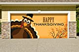 Outdoor Thanksgiving Holiday Garage Door Banner Cover Mural Décoration - Happy Thanksgiving Turkey - Outdoor Thanksgiving Holiday Garage Door Banner Décor Sign 7'x 8'