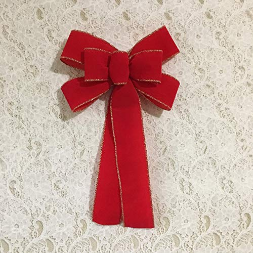 (Classic Red Velvet Bow Small/Home for the Holidays Collection/Custom Bows By Jami)