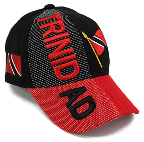 High End Hats Nations of South America Hat Collection Embroidered Adjustable Baseball Cap, Trinidad with Flag, Black ()