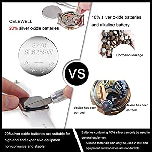 【5-Year Warranty】 CELEWELL 10 Pack SR626SW 377 AG4 LR626 Watch Battery 1.55V 20% Silver Oxide Button Cell for Calculator Toy Children Book