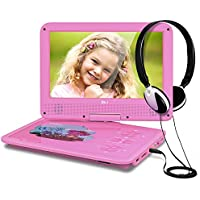 THZY DR.J 5 Hours 9.5 Kids Portable DVD Player with Headphone Built-in Rechargeable Battery and USB/SD Card Reader, 5.9ft Car Charger & AC Battery Adapter