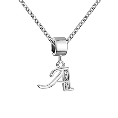 f26d4046db8d44 LoEnMe Jewelry Initial Letter A Alphabet Necklace Cubic Zirconia Pendant  Gift for Grandma | Amazon.com