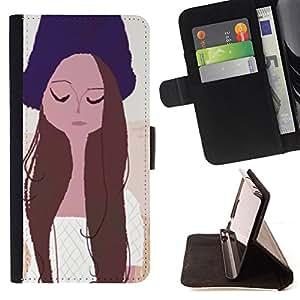 BullDog Case - FOR/Samsung Galaxy S6 EDGE / - / GIRL PORTRAIT EYES CLOSED HAT ART DRAWING /- Monedero de cuero de la PU Llevar cubierta de la caja con el ID Credit Card Slots Flip funda de cuer