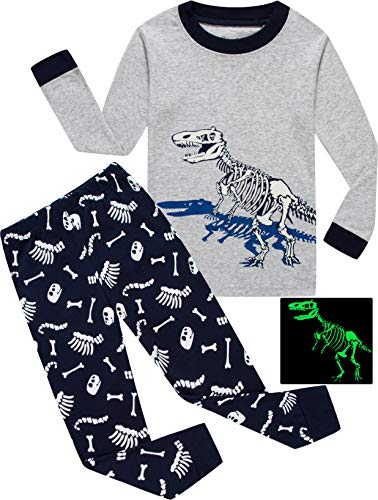 shelry Boys Dinosaur Pajamas Children Sleepwear Christmas 2 Piece Pants Set Toddler Clothes Size 8 ()