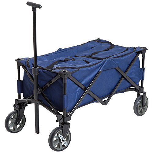 Outsunny 135 Quart Soft-Sided Folding Insulated Cooler Cart Utility Wagon with Wheels - Blue/Black