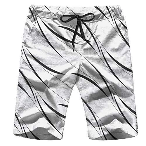(Linear Grid Leaves Nature Curve Mens Beach Pants 3D Printed Casual Fashion Adjustable Beach Board Shorts XXL )