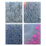 Kwan Crafts 4 pcs Different Style Flowers Rose Heart Butterfly Plastic Embossing Folders for Card Making Scrapbooking and Other Paper Crafts, 12.1x15.3cm