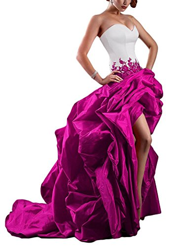 Sweet Bridal Women's Strapless High Low Taffeta Evening Dress Ball Gown Fuschia - Evening Taffeta Strapless Dress