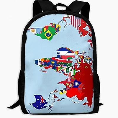 ChunLei Mochila Escolar Infantil Mapa del Mundo Banderas Nacionales al Aire Libre Mochila de Viaje Estudiante Mochilas Niños Libro Bolsas Unisex Hombro ...