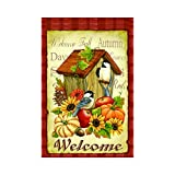 Home Garden Flag Best Deals - LDJ Welcome Fall Birds Home With Pumpkin Apple And Flowers Double Sided Decorative Flags 100% Polyester And Waterproof,Fade,And Mildew Resistant, Custom Garden Flags 28X40 Inch Banner Home Flags Print Flags