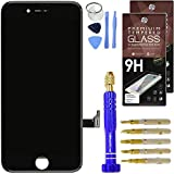 "Cell Phone DIY Black iPhone 7 Screen Replacement 4.7"" LCD Touch Screen Digitizer Assembly Set + Premium Glass Screen Protector + Pro Repair Tool Kit"