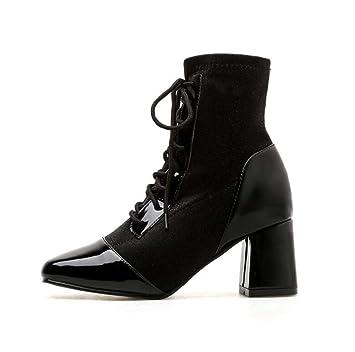Shiney Botines De Tacón Alto para Mujer 2018 New Martin Boots Botín De Tacón Grueso con Cordones Botas Cuadradas De Color De Moda: Amazon.es: Deportes y ...