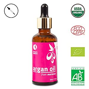Fatima's Garden Argan Oil for Face, Hair, Skin and Nails, Moroccan Oil USDA Ecocert Certified Organic Pure Virgin Cold Pressed Moroccan Anti-aging Moisturizer (Normal, 1.7 Fl Oz)