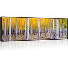 Visual Art Decor Xlarge Autumn Forest Wall Art Fall Scenery Canvas Prints Prime Framed Silver Birch Tree Painting Picture Home Office Decoration Ready to Hang (01 Birch Forest)