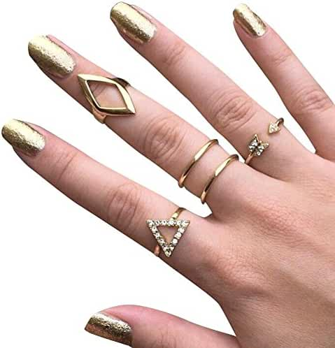 High Fashion Metal Rings Set Punk Style Rock Jewelry Accessories for Women/Girls Stack Ring Leaf V Rhinestone Joint Rings Knuckle Nail Ring Set