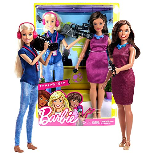 (Year 2017 Barbies Career You Can Be Anything Series 2 Pack 12 Inch Doll - TV News Team with Hispanic News Anchor and Caucasian Camera Person)