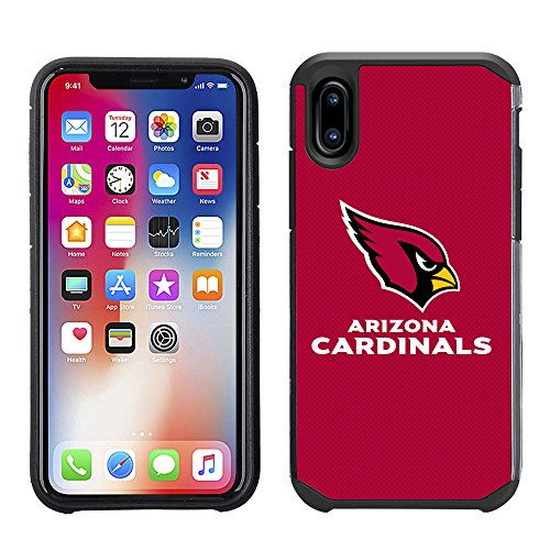 Prime Brands Group Cell Phone Case for Apple iPhone X - NFL Licensed Arizona Cardinals Textured Solid ()